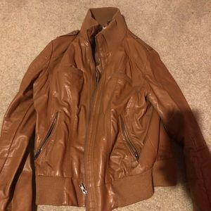 Large Cognac Leather Jacket
